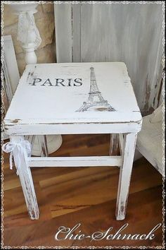 Adding That Perfect Gray Shabby Chic Furniture To Complete Your Interior Look from Shabby Chic Home interiors. Decoupage Furniture, Upcycled Furniture, Shabby Chic Furniture, Painted Furniture, Diy Furniture, Shabby Chic Bedrooms, Shabby Chic Homes, Paris Room Decor, Painted Chairs