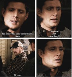 Day 15: scene that made you angry: more so just the fact that not only did Sam hide the fact that he was alive from dean for a year, Bobby knew and said nothing. I get why they did it, dean had a shot at getting away and having a normal life. But still, he should have been told.
