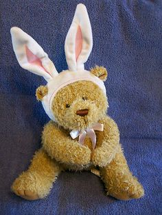 Brown Plush Teddy Bear with Easter Bunny Rabbit Ears White Bonnet Magnet Paws
