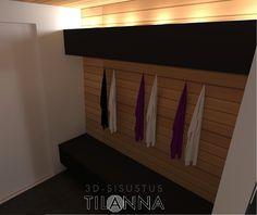 3D- sisustussuunnittelu / saunan pukuhuone, mustat kiintokalusteet, lämpökäsitelty haapa, sauna, dressing room, black furnitures / 3D-sisustus Tilanna, sisustussuunnittelija Jyväskylä Spa Rooms, Small Toilet, Sauna, Dressing Room, Garage Doors, Outdoor Decor, Home Decor, Small Shower Room, Walk In Closet