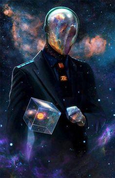 El hombre teniendo el control de la materia. Si se fijan bien verán, dentro del cubo, a nuestro sistema solar. Y un hombre teniendo el control.