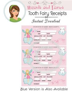 Tooth fairy diy printable package personalized tooth for Hallmark fairy door