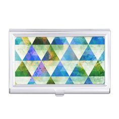 Modern Blue & Green Geometric Triangle Design Case For Business Cards