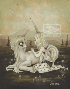 Creepy Cute Alternative art and Lowbrow and Gothic fantasy art prints. Artwork paintings Featuring Zombies, Unicorns, Witches, Aliens, and other spooky and eccentric beasts by artist White Stag. Arte Alien, Alien Art, Gothic Fantasy Art, Unicorn Tattoos, Girl Posters, Unicorn Art, Lowbrow Art, Soul Art, Pop Surrealism