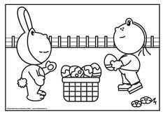 Kleurplaat eieren zoeken met de paashaas en Lola