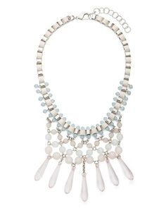 Pretty necklace in muted pastels and whites.