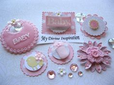 It's a Girl Paper Embellishments by mydivineinspiration on Etsy