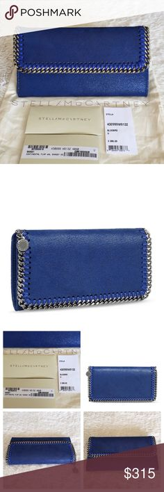 NEW STELLA MCCARTNEY FALABELLA SHAGGY FLAP WALLET Authentic. Brand new with tags and dust bag. PLEASE NO TRADE. THE PRICE IS FIRM. Falabella shaggy deer wallet in bluebird tone with a flap front, ruthenium chain hardware and Stella McCartney logo disc. Central divider with wall pockets and interior change pocket. Solid color. Contrasting applications. Internal compartments. Logo. 100% Polyester. Color: blue Stella McCartney Bags Wallets