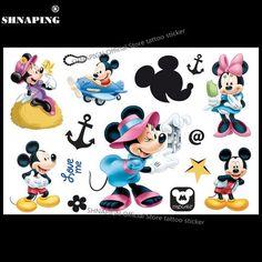 d253eb2a9 SHNAPIGN Cute Mickey Minnie Child Temporary Tattoo Body Art Flash Tattoo  Stickers 17*10cm Waterproof Henna Tatoo Styling Sticker