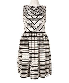 Taupe & White Stripe Fit & Flare Dress