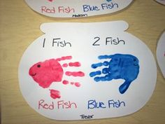More handprint art for Seuss week: 1 Fish 2 Fish Red Fish Blue Fish
