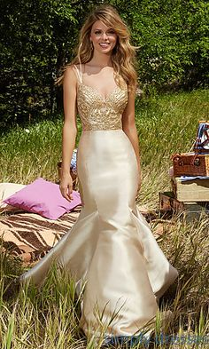 V-Neck Mermaid Style Open Back Prom Gown