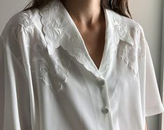 Check out our embroidered blouse selection for the very best in unique or custom, handmade pieces from our blouses shops. Embroidered Blouse, Tunic Tops, Trending Outfits, Etsy, Vintage, Women, Style, Fashion, House Dress