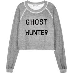 Wildfox Ghost Hunter Grey Jersey Sweatshirt - Size M ($160) ❤ liked on Polyvore featuring tops, hoodies, sweatshirts, grey sweatshirt, wildfox, raglan top, patterned tops and polyester jersey