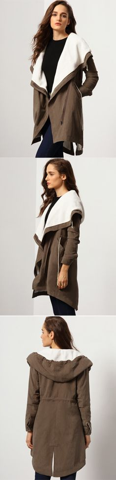 Have a winter cover up that gives you all the room for a warm comfy fit with this hoooded sleeve coat. The upper bodice comes with a white wide hooded neckline and  finished with a front zip that closes to a double breasted fit.