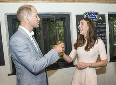 Don't drink it all at once! The couple shared a joke as Kate presented her husband with the pint she'd pulled - 1 September 2016