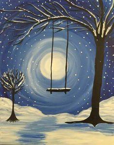 Snowy tree swing