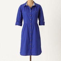 Anthropologie shirt dress Anthropologie royal blue shirt dress. GUC Anthropologie Dresses Long Sleeve