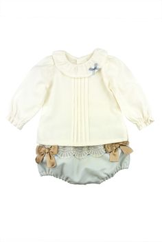 Rochy FW15. Two piece ivory top and beau blue bows and lace embellished bloomer shorts outfit