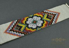 Bracelet woven on a loom folk bracelet flower bracelet the Indian pattern Seed Bead Patterns, Beading Patterns, Flower Patterns, Pattern Flower, Peyote Patterns, Indian Beadwork, Beadwork Designs, Indian Patterns, Bead Loom Bracelets