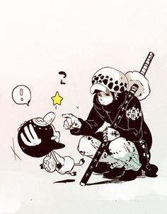 Trafalgar D. Water Law and Tony Tony Chopper One piece Manga Anime One Piece, One Piece Fanart, Triumph Motorcycles, Trafalgar D Water Law, Chibi, Suki, Fairy Tail Funny, Ace And Luffy, Good Anime Series