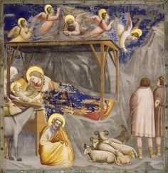 This Nativity is a fresco painted by Giotto in the Scrovegni Chapel, in Padua, as part of one of his finest and important fresco cycles dedicated to the life of the Virgin Mary. Art Installation, Define Christmas, Jesus Christ Images, Blessed Virgin Mary, Stock Art, Italian Art, Renaissance Art, Native Art, Religious Art