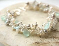 WINTER SALE Blue Pearl Cluster Bracelet  Aqua Chalcedony by OhKuol, $170.00