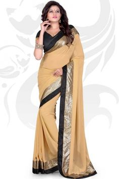 Peach Yellow Faux Georgette Embroidered Party and Festival Saree Sku Code:307-3999SA785981 $ 25.00