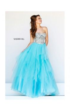 2014 Beaded Plunging Neck Gown by Sherri Hill 11085 Aqua