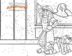 A coloring page for kids from the story, Escape from Egypt. Poor Pharaoh...those lice were itchy!