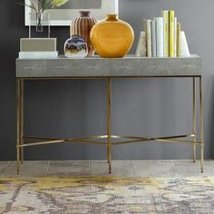 "Faux Shagreen Console Table 52.5""L x 13.5""W x 32""H"