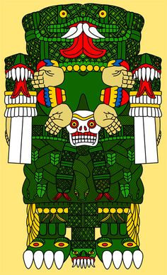Coatlicue: the Mother of Gods, she gave birth to the moon, stars, and Huitzilopochtli, the god of the sun and war. Represents the devouring mother, in whom both the womb and the grave exist. 'She of the Serpent Skirt', she can be identified by her skirt made of snakes. Considered the mother of the people, giver of fertility.