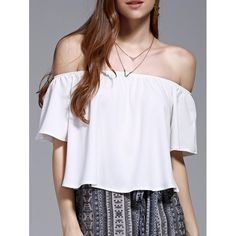 Stylish Off The Shoulder Pure Color Women's Chiffon Crop Top - WHITE M