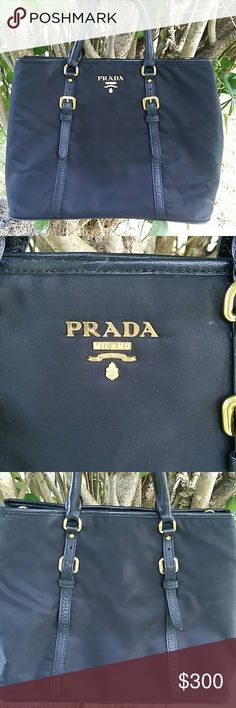 Beautiful Classic Prada 11 x 14 x 6 Beautiful Prada with leather trim comes with authenticity card. It needs a home that will provide a long strap. Bag is clean and shiny! Prada Bags Satchels