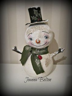 Christmas Snowman paper mache  folk art OOAK art by Joannabolton, $60.00