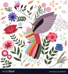Colorful bird in sptring summer flower garden Vector Image - Garden Drawing Colorful Birds, Colorful Flowers, Funny Bird, Scandinavian Folk Art, Garden Drawing, Illustration Art, Illustrations, Summer Flowers, Bird Art