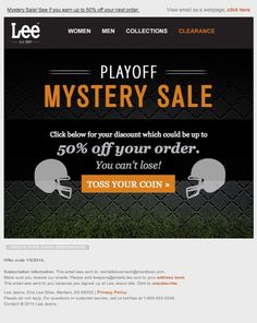 The Super Bowl is a marketing goal mine. Get inspired by the best Super Bowl email campaigns, subject lines, and free HTML email templates. Email Marketing Campaign, Marketing Goals, Free Html Email Templates, Sale Emails, Super Bowl, Lee Jeans, Holiday, Vacations, Holidays