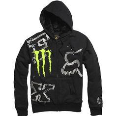 Fox Racing Monster Ricky Carmichael Replica Downfall Sasquatch Men's Hoody Zip Sportswear Sweatshirt/Sweater - Black $63.99 - $69.95