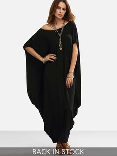 Shop Black One Shoulder Dolman Sleeve Maxi Dress online. SheIn offers Black One Shoulder Dolman Sleeve Maxi Dress & more to fit your fashionable needs.