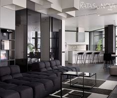 Black & White Apartment by Lera Katasonova http://interiorsxdesign.com/2017/09/27/black-white-apartment-by-lera-katasonova/
