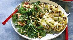 Recipe: cauliflower steaks with haloumi, spinach & almond salad | Stuff.co.nz