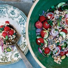Summer Farro Salad | Marco Canora says you can swap in any starch—like bread or pasta—for the farro (a nutty Italian grain) in this recipe.