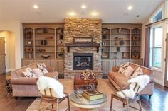 Love this fireplace and built ins