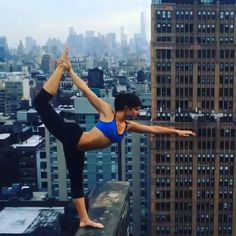 """Woman Who Takes Yoga Pose on Ledge Sparks Debate - check out the shocking video that's sparked a conversation about """"pushing yourself to the limits"""" and decide for yourself what you think."""