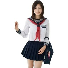 Traditonal Japanese Sailer Uniform [ Free Size for Women ] Cosplay... ($30) ❤ liked on Polyvore featuring costumes, cosplay halloween costumes, womens halloween costumes, ladies halloween costumes, lady costumes and cosplay costumes