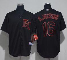 da60e34d2 Royals #16 Bo Jackson Black Strip Stitched MLB Jersey Nhl Jerseys, Baseball  Jerseys,