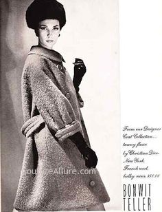 Couture Allure Vintage Fashion: 1961 Christian Dior New York Coat  Dior was on of the first to sell a RTW and one of the first to design RTW in America.