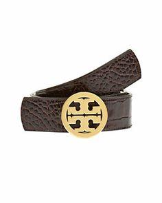 Tory Burch Embossed Leather Reversible Logo Belt $195.00$99.90