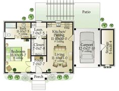 One bedroom small house: Plan W62123V