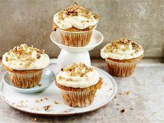 Hummingbird-muffinit eli banaani-pähkinämuffinit Frisk, 20 Min, Mini Cupcakes, Baked Goods, Food And Drink, Sweets, Cookies, Baking, Breakfast